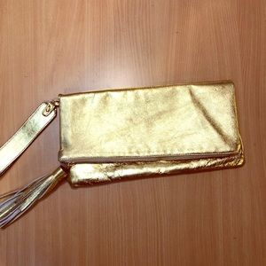 GORGEOUS & GLAM Large Gold Leather wristlet/clutch